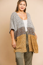 Load image into Gallery viewer, Short Sleeve Knit And Animal Print Color Blocked Open Front Kimono