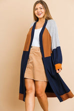 Load image into Gallery viewer, Colorblocked Long Puff Sleeve Ribbed Knit Long Open Front Sweater Cardigan