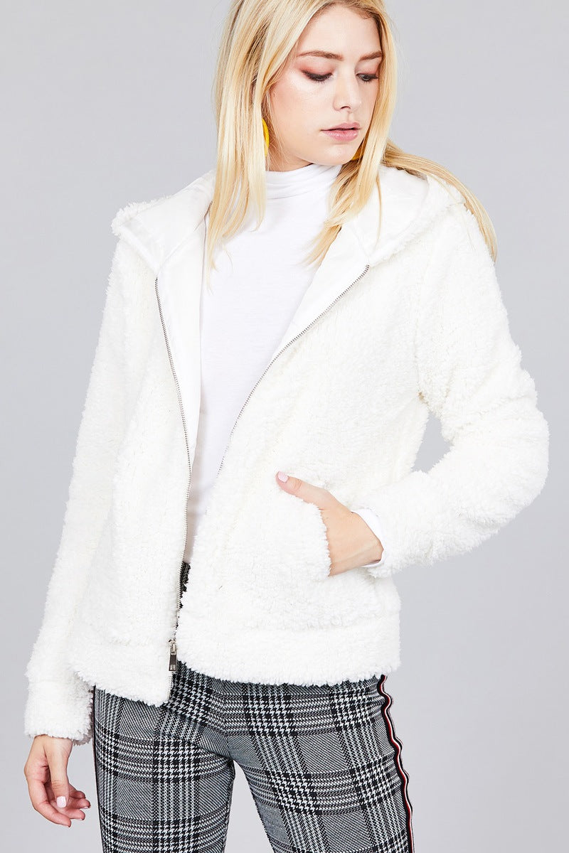Hoodie Side Pocket Faux Fur Zip-up Jacket
