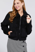 Load image into Gallery viewer, Long Sleeve Pouch Pocket W/collar Faux Fur Jacket