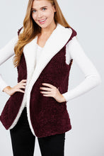 Load image into Gallery viewer, Open Front W/hoodie Faux Fur Reversible Vest
