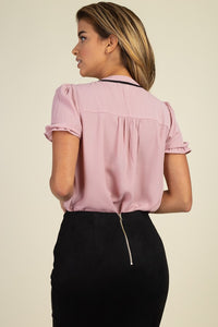 Pussycat Bow Ruffle Trim Top