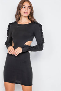 Cut-out Flounce Sleeve Trim Mini Dress