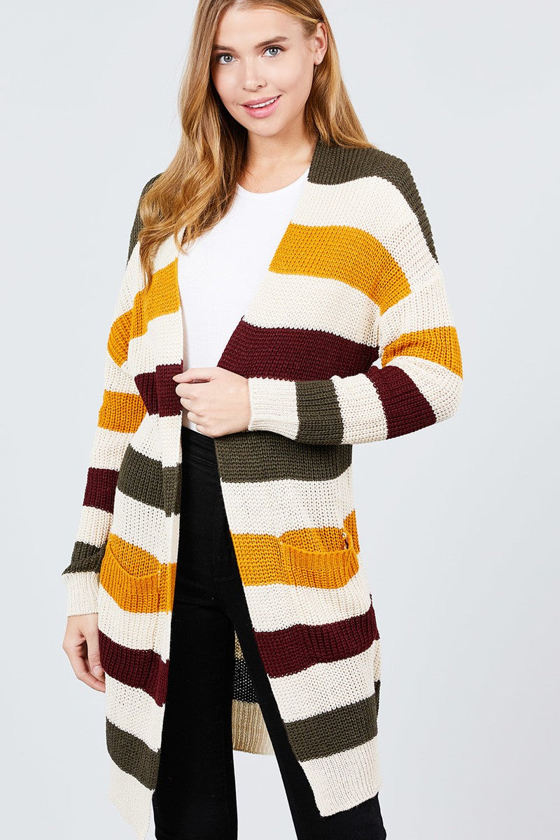 Long Sleeve W/two Pocket Color Block Sweater Cardigan
