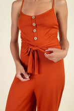Load image into Gallery viewer, Waist Side Belt Rib Jumpsuit