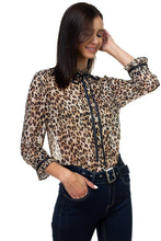 Load image into Gallery viewer, Pussycat Bow Chiffon Leopard Print Shirt