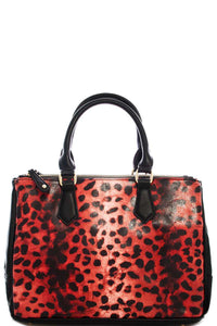 Two Tone Leopard Satchel With Long Strap