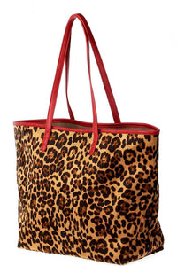 2in1 Designer Trendy Leopard Suede Shopper Bag