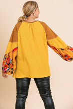 Load image into Gallery viewer, Floral Print Long Puff Sleeve Round Neck Waffle Knit Top