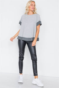 Grey Contrast Trim Flare Cotton Tee