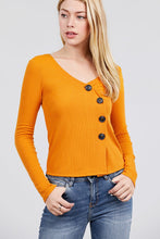 Load image into Gallery viewer, Long Sleeve V-neck Cross Wrap W/button Detail Rib Knit Top