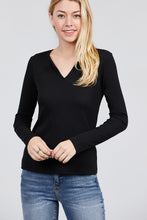Load image into Gallery viewer, Long Sleeve V-notch Neck Rib Knit Top