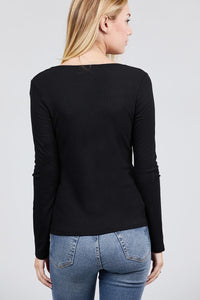 Long Sleeve V-notch Neck Rib Knit Top