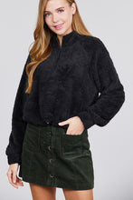 Load image into Gallery viewer, Long Dolman Sleeve Mock Neck W/zipper Detail Toggle Elastic Hem Faux Fur Top