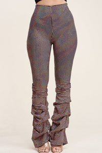 High Waist Metallic Trans Holographic Scrunched Up Pants