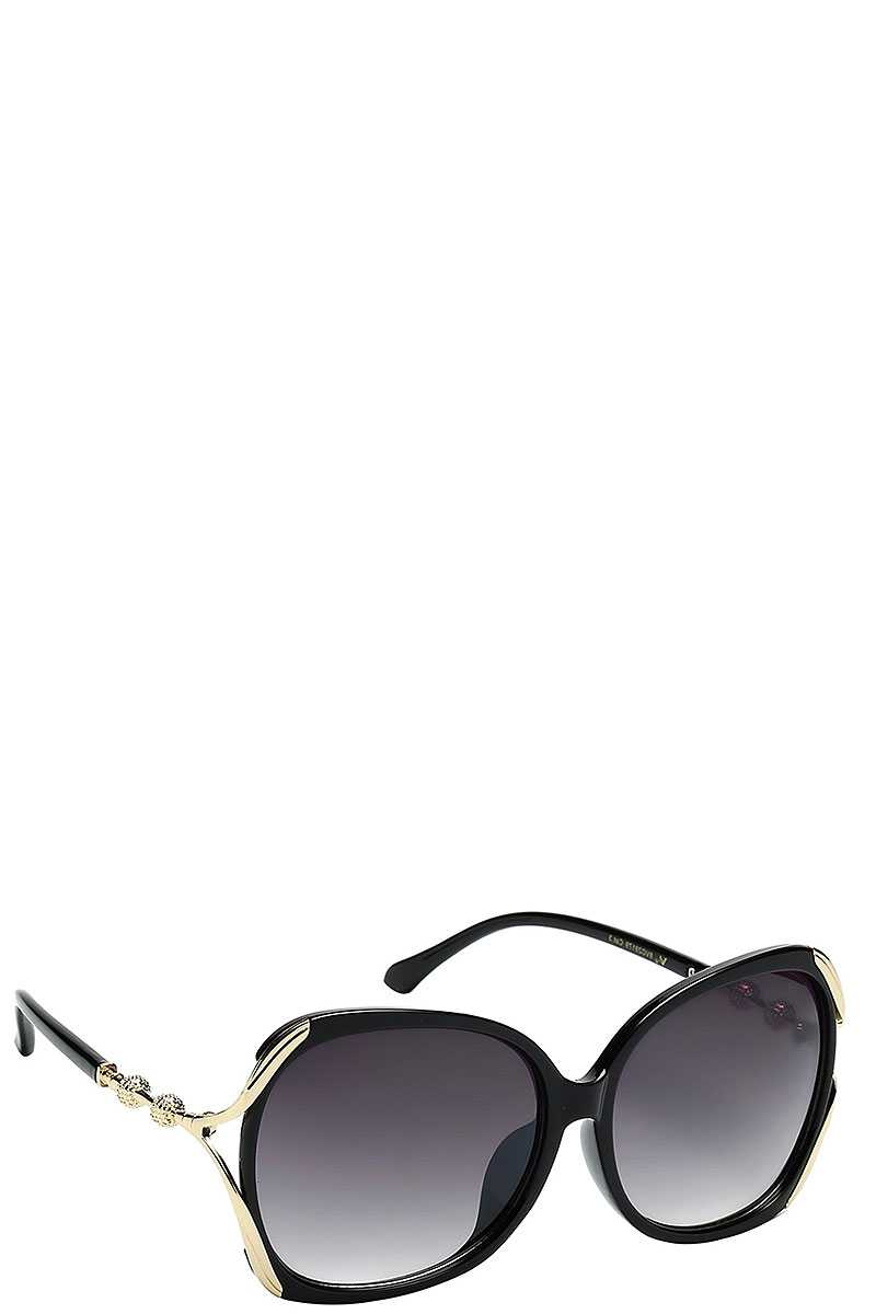 Contemporary Butterfly Frame With Metal Accented Temple Womens Sunglasses