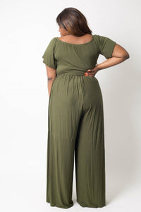 Plus Size Crop Top Pant Set