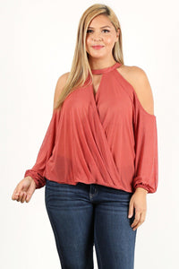Plus Size Solid Wrap Top With A Mock Neckline, Cutouts, And Puff Sleeves