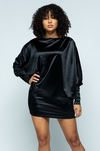 Stretch Satin Long Puff Sleeve Mini Dress