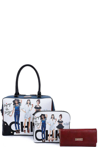 Nikky By Nicole Lee 3in1 Chic Girls Print Satchel Crossbody And Wallet Set