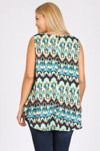 Load image into Gallery viewer, Plus Size Sleeveless Multi Print Tunic Top