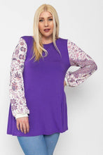 Load image into Gallery viewer, Floral Print, Contrasting Bubble Sleeves Tunic With A Round Neckline.