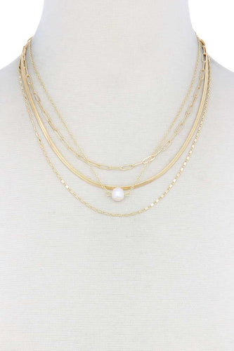 Pearl Bead Snake Chain Layered Necklace