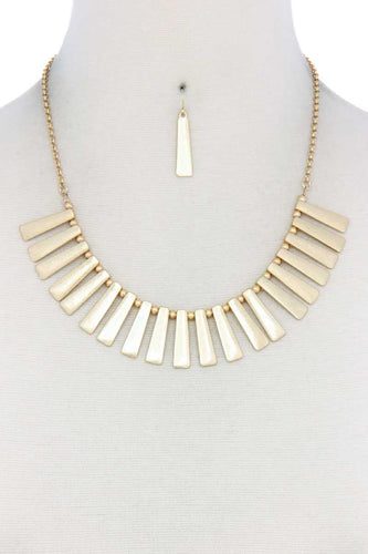 Metal Bar Bib Necklace