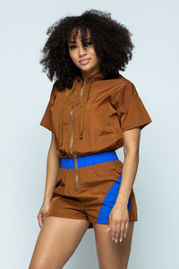 Short Sleeve Zippered Front Multi-colored Romper With Drawstring