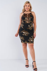 Plus Size Black Gold Sequin Criss Cross Open