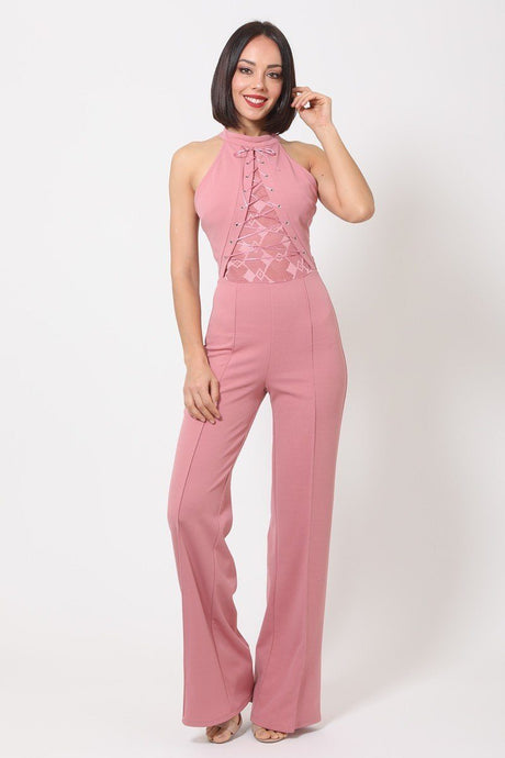 Halter Neck Jumpsuit W/ Criss Cross Front Tie Designs
