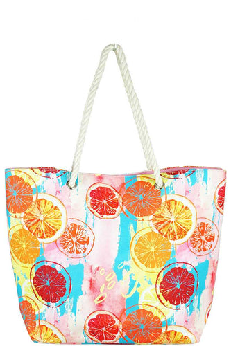 Fashion Citrus Water Color Print Canvas Shopper Bag