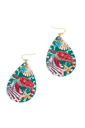 Designer Fashion Sea Turtle Print Tear Drop Earring