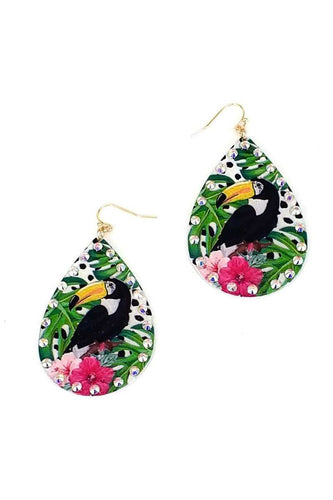 Fashion Tropical Bird Print Earring