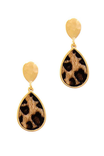 Cute Modern Tear Drop Leopard Fur Earring