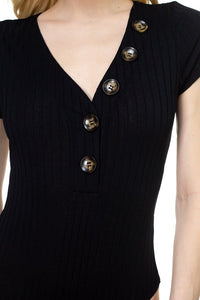 Button V-neck Bodysuit