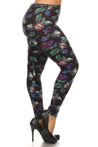 Plus Size Print, Full Length Leggings In A Slim Fitting Style With A Banded High Waist.