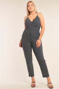 Plus Size Black & White Striped Wrap Sleeveless Criss-cross Strap Deep Plunge V-neck Jumpsuit