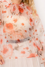 Load image into Gallery viewer, Floral Print Ruffled Organza Top