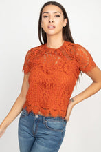 Load image into Gallery viewer, Eyelash Trim Sheer Floral Lace Top