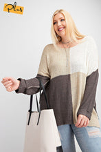 Load image into Gallery viewer, Color Block Long Sleeve Knitted Sweater Top