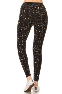 Yoga Style Banded Lined Black Cat Print, Full Length Leggings In A Slim Fitting