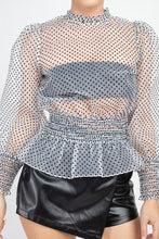 Load image into Gallery viewer, Ruffle Dot Print Smocking Top
