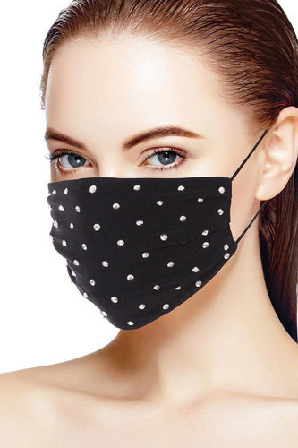 3d Shiny Silver Metal Studs Rhinestone Jersey Fashion Face Mask