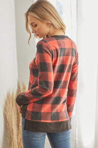 Plaid V Neck Long-sleeved Top