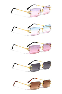 Stylish Metal Square Rimless Sunglasses