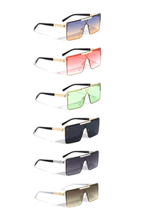 Cool Metal Rectangle Shield Sunglasses