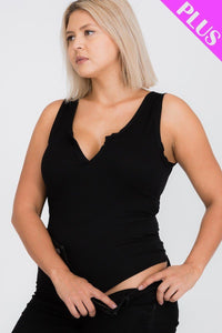 Plus Size Split Neckline Bodysuit Top