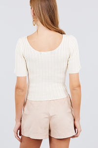 Short Slv Rib Sweater Top