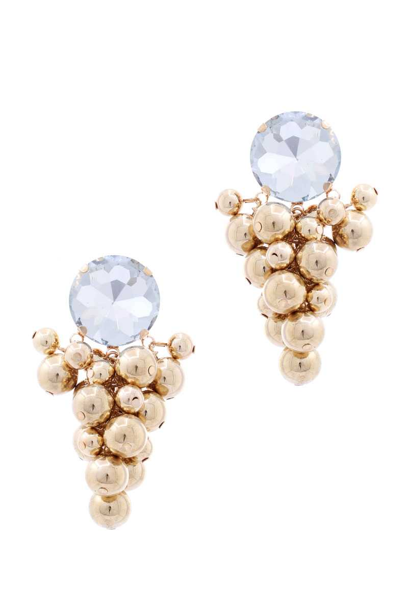 Multi Balls Wide Stone Stud Earring